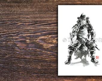 Samurai armor wall decal, samurai poster, samurai, black fine art print, black and white poster, samurai wall decor, warrior armor decor