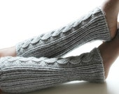 SALE Hand Knit Leg Warmers in light grey color