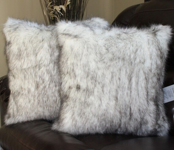 Faux fur wolf white black pillow cover 18 x 18 in set of 2 for White faux fur pillow