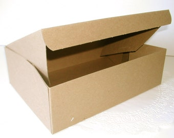 "12 Kraft Boxes Large 10"" x 6 3/4"" x 3"""