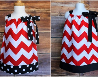 Valentine's Day Red Chevron Pillowcase Dress - Newborn to Child 11/12 girls baby infant toddler tween black Spring Summer Fall Winter