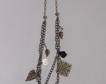 Long Handmade Vintage Brass Chain with Leaf Pendants
