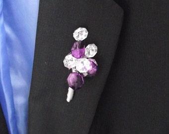 Rhinestone and purple crystal boutonniere, grooms boutonniere, purple wedding boutonniere, father boutonniere, prom boutonniere, buttonhole