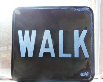 "Vintage, 1950's-60's, Glass Lens, ""Walk"" Signal, Traffic Sign"
