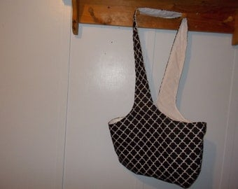Hobo bag. Black and white with white reversible