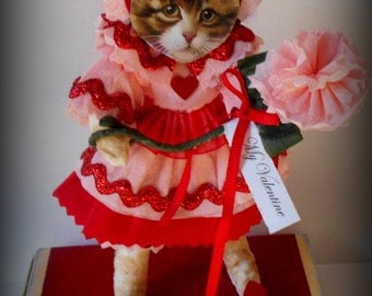 Spun Cotton Cat Ornament, Vintage Valentine Cat Decoration With Red and Pink Crepe Paper Dress,  Art Doll, Kitty Doll with Scrap Face