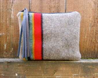 Wool Fabric Clutch Bag Purse Pendleton Wool Fabric