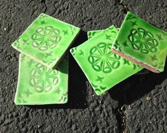 Vintage Green Italian Tile--Fatto a Mano, Cerasarda, 1920s-30s