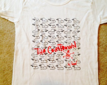 Original band  t-shirt by the band The Countdown from Chicago rats and poison white and red