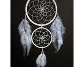 White double dream catcher, white web, white feathers and bead finish 10cm diameter dreamcatcher hand made