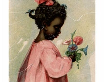 Original Antique  Adverting Card - Black Americana - Pretty Girl Holding flowers