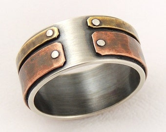 unique mens wedding band mens engagement ringsilver and coppermen anniversary gift - Mens Wedding Rings Unique