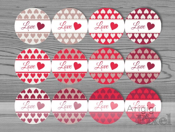 Printable Valentines Day Label Template, Love Round Stickers, Red