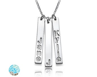 Mother's Children Name Bar Necklace in Sterling Silver - Personalized