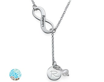 Infinity Y Shaped Birthstone Necklace with Initial in Sterling Silver - Personalized