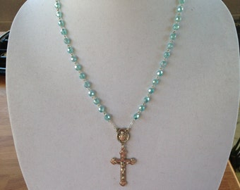 Blue Bead Rosary Necklace