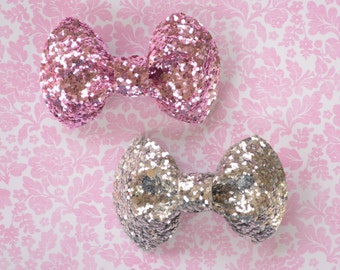 Cameo Pink and Silver Glitter Hair Bows