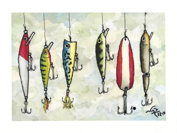 Art Print Fishing Lures Ink Amp Watercolor