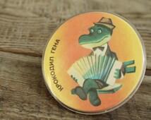 Pin ... pinback button ... badge ... Soviet  ... cartoon hero ... Crocodile Gena