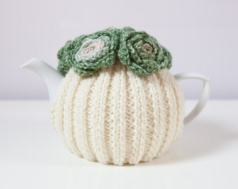 Cream Hand Knit Tea Cozy with Variegated Green Crocheted Flowers.Teapot Cozy.
