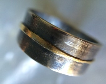 Mens 18kt Gold and Silver Wedding Band- Organic Rustic Mens Wedding Band- Recycled Gold Mens Wedding Ring- Ring For Guys
