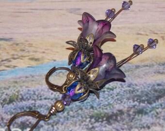 Lucite Earrings, Lucite Flower Earrings, 'Moorland Heather' Drop Earrings, Handmade Earrings, Hand Painted, Purple Earrings, Filigree Bronze