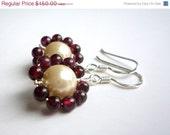 SALE Pearl and garnet beaded earrings