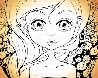 Digital stamp- Aurora ' Daisy Kiss ' - 300 dpi 2 JPEG/PNG files - MAC0134