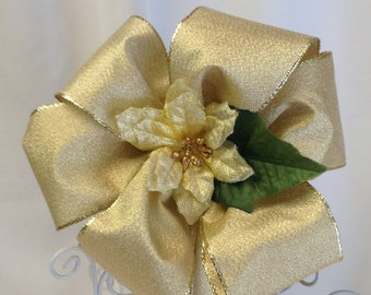 Gold Poinsettia Bow - Christmas Ornament - Tree Decoration - Gift Bows -  Wreath Bow - Holiday Bow - Gold Bow