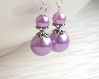 Lavender Bridesmaid Jewelry Earrings Purple Earrings Flower Girl Gift Glass Pearl Wedding Party Bridesmaid Jewelry Beaded Jewelry