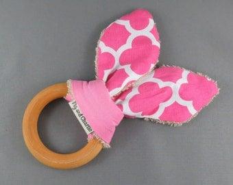 Teething Ring - Pink Quatrefoil