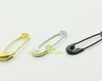 500 clothing accessory, jewelry pins, black safety pins, silver safety pins, gold pins.