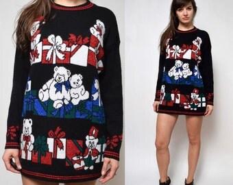 Vintage 90's Christmas Teddy Bear Sweater