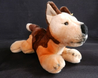 STEIFF German Shepherd puppy from the 90s with button and flag no. 079078