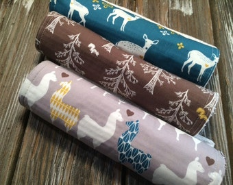 ORGANIC Burp Cloths ~ Deer//Llama//Trees//Nature//Geometric//Woodland