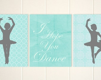 I hope you dance, ballerina nursery art, or girl's room art, french style wall art, french nursery decor, retro nursery decor, Set of 3