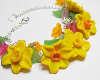 Springtime Bracelet featuring handmade Daffodills and Flowers