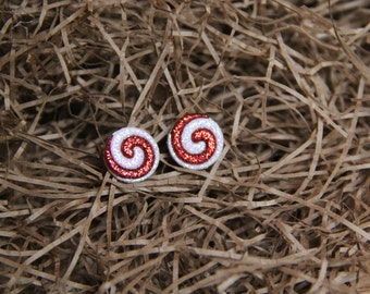 Sparkling Red and White Swirl Earrings!