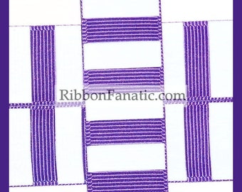 "5 yds 7/8"" Regal Purple and White Candy Stripe Grosgrain Ribbon"