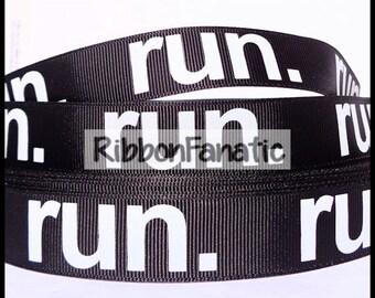 "5 yds 7/8"" Run on Black Grosgrain Ribbon"