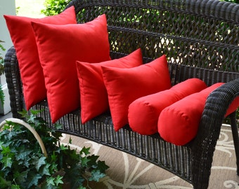 Set of 6 Red Solid Throw Pillows~Square Rectangle Bolster Indoor / Outdoor Decorative Throw Pillows