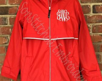 Monogram Rain Jacket- Charles River Rain Jacket, Monogrammed Rain Coat, Personalized Rain Jacket
