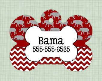 Custom Pet ID Tag Alabama Crimson Tide chevron, Personalized Dog Tag, Identification name tag, Cat Tag, Lunch Box Tag, Bag Tag