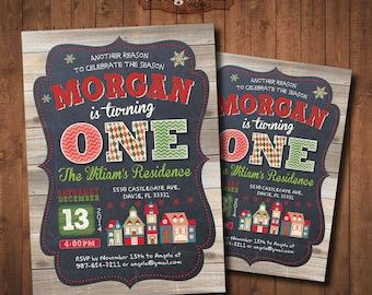 Christmas Birthday Party Invitation. DIY card. Digital Printable card