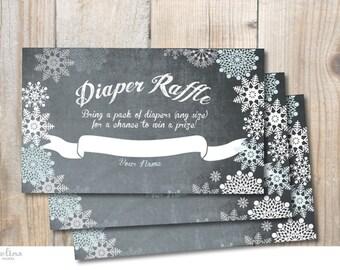 Diaper Raffle for Winter Baby Shower Invitation Chalkboard. Snowflakes. DIY card. Digital Printable card
