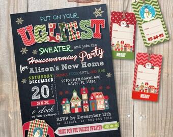 Housewarming Ugly Sweater Party Invitation. DIY card. Digital Printable card