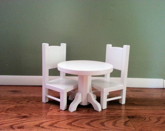 Round Table and Chair Set for American Girl Doll or any 18 inch doll