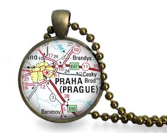 Prague map necklace vintage atlas Czech Republic pendant world travel gift.