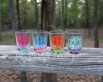 Monogrammed Shot Glass, Colored shot glass, monogram colored shot glass