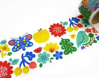 Finnish Flower Wide Washi Tape - Colourful Flower Masking Tape by Aimez le Style - Scandi Style